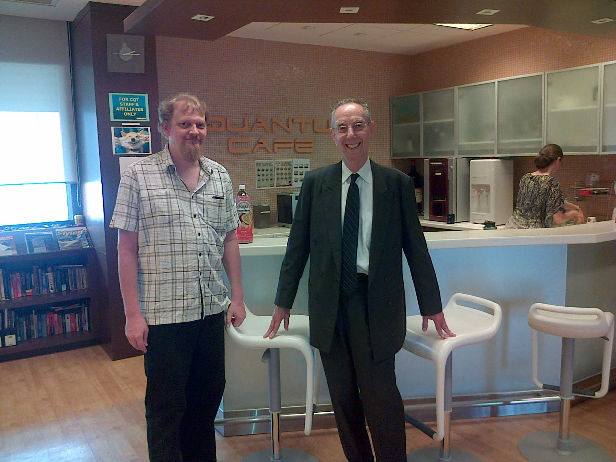 David visits with Dr. Christian Kurtsiefer(left) at Singapore's Center for Quantum Technologies (QTC) in July 2014